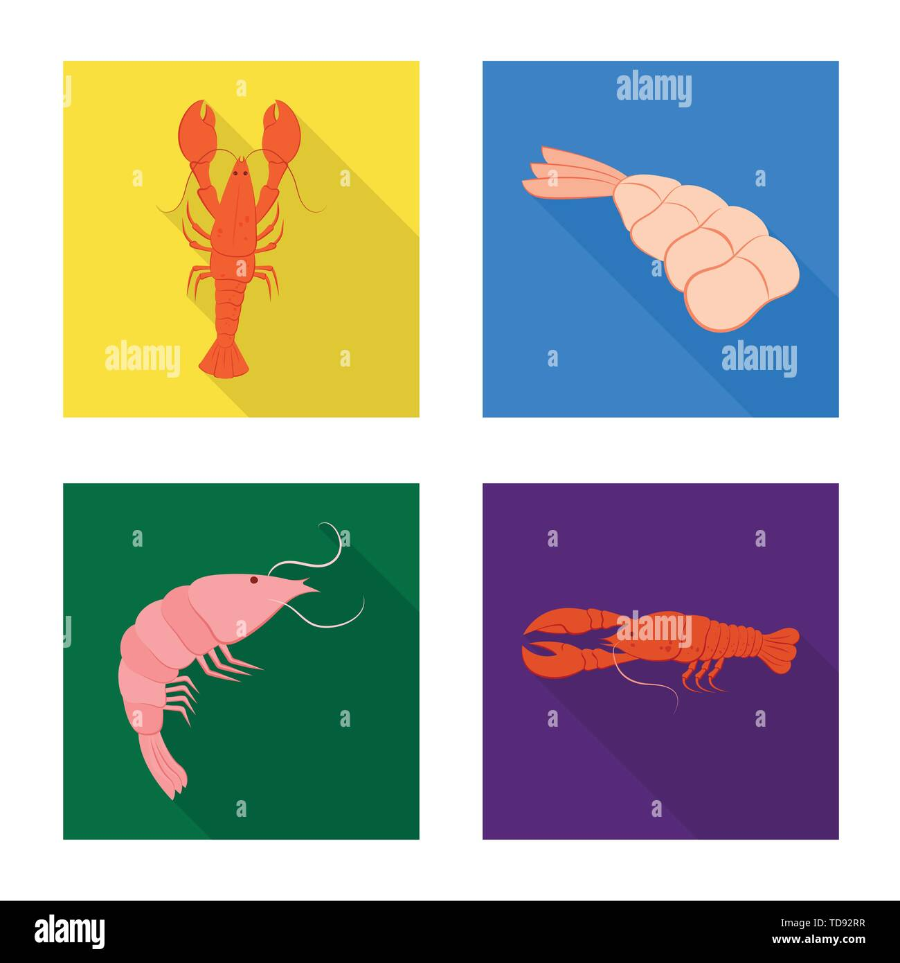Vector illustration of appetizer and seafood icon. Collection of appetizer and ocean vector icon for stock. - Stock Image