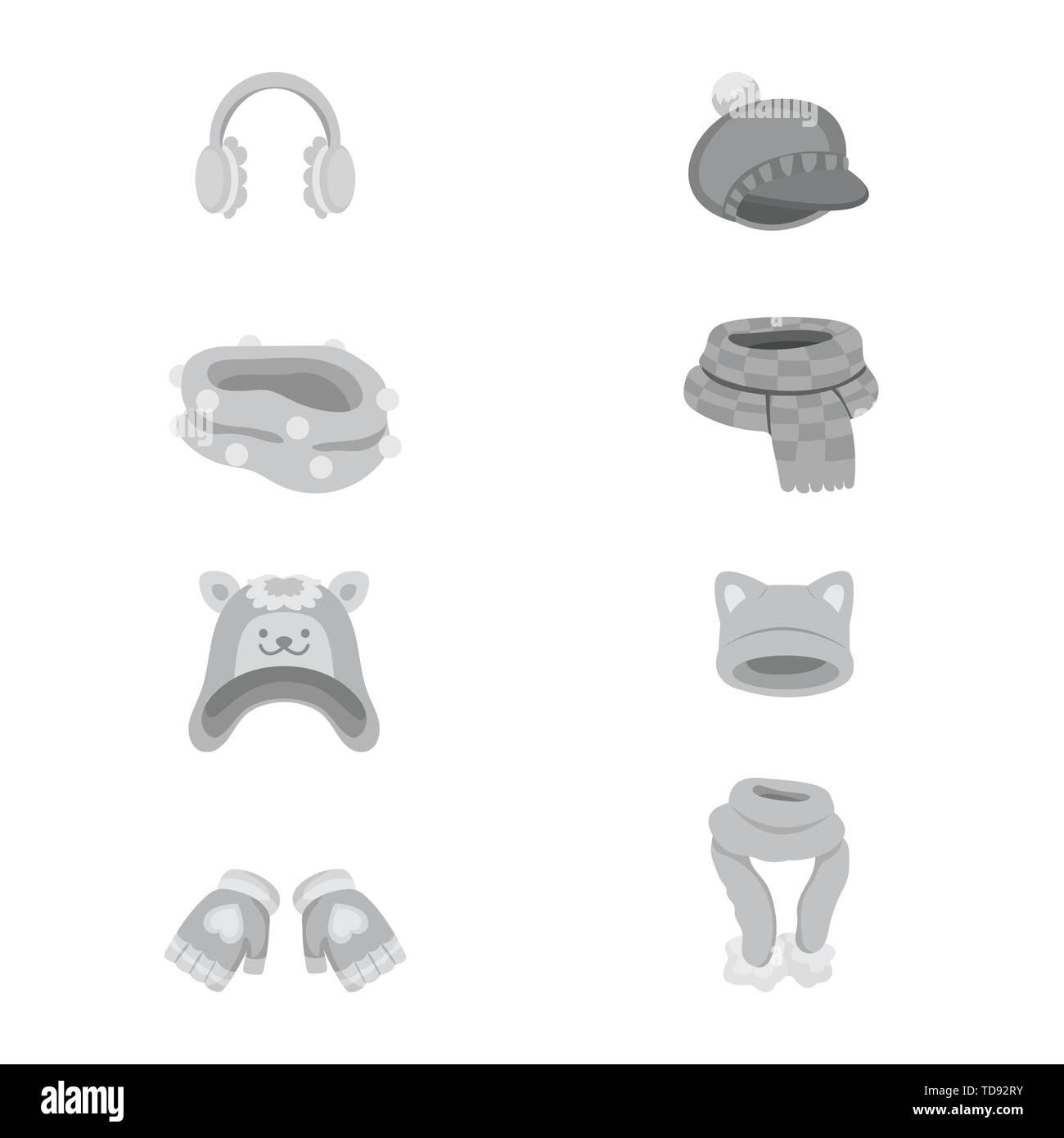 Vector design of headwear  and fashion  icon. Collection of headwear  and cold vector icon for stock. - Stock Vector