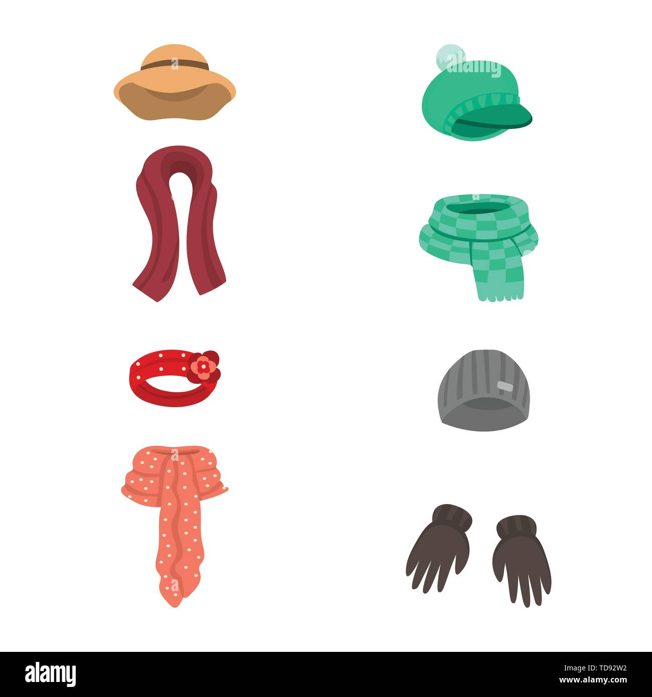 Isolated object of headwear  and fashion  logo. Collection of headwear  and cold vector icon for stock. - Stock Vector