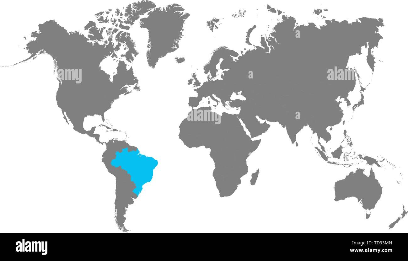 Image of: The Map Of Brazil Is Highlighted In Blue On The World Map Stock Vector Image Art Alamy