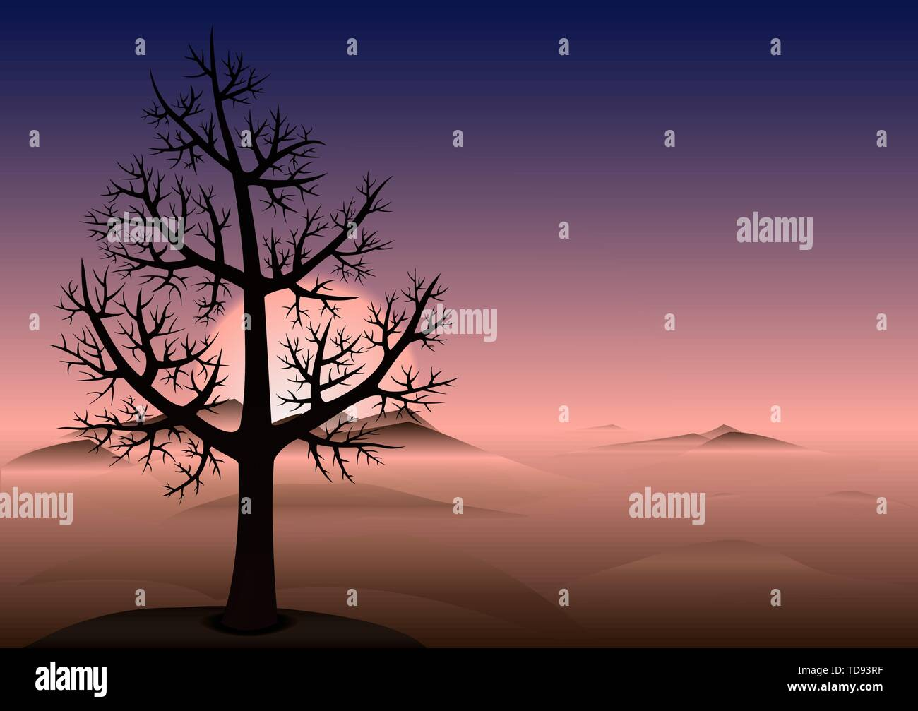 Lonely tree without leaves on the hill. Sunset time. Heads of a mountains looks through the fog. Vector Background with copy space. - Stock Vector