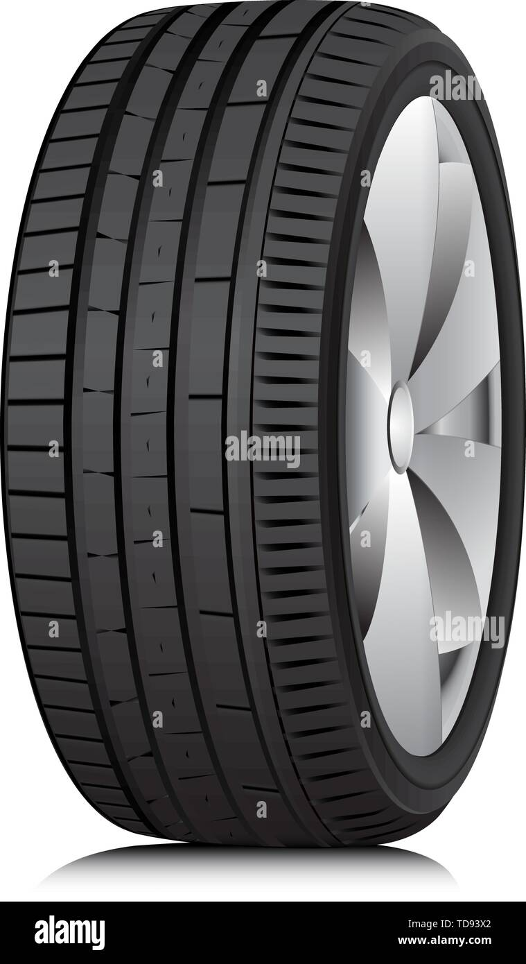 Matte Black tubeless low profile tyre on the shiny silver drive, isolated on white background. - Stock Vector