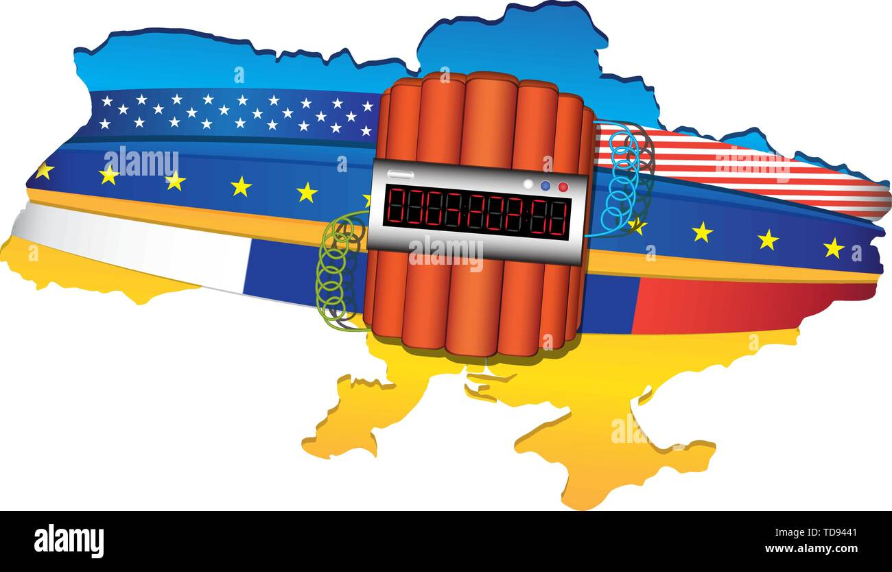 Ukraine map wrapped by USA, European Unit and Russian flags. Big explosive with timer. Vector illustration isolated on white background. - Stock Image