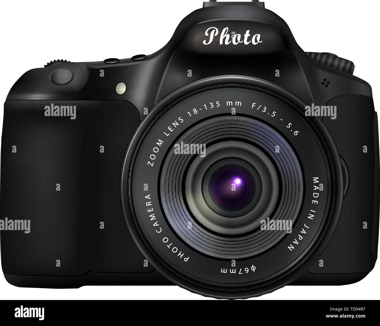 Modern black digital single-lens reflex camera isolated on white background - Stock Vector
