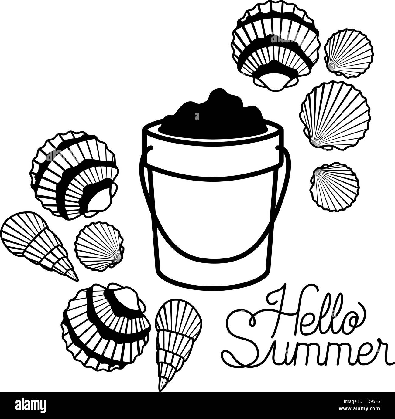 hello summer label with white background - Stock Image
