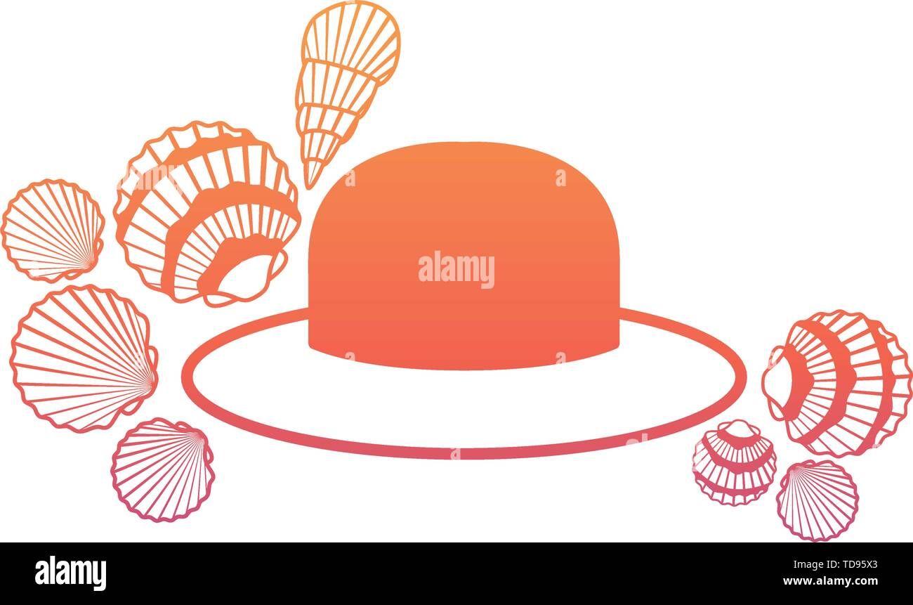 hat with ribbon on white background Stock Vector