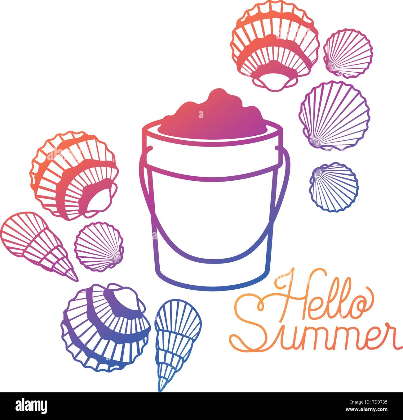 hello summer label with colorful image - Stock Image