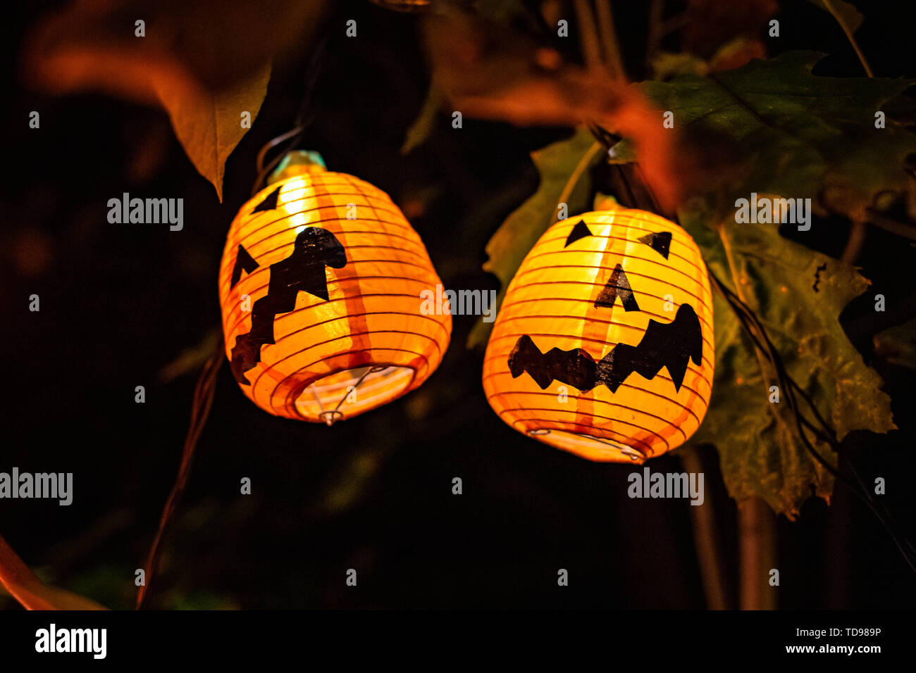 Scary Halloween Decorations Outdoors At Night Lighted Stock