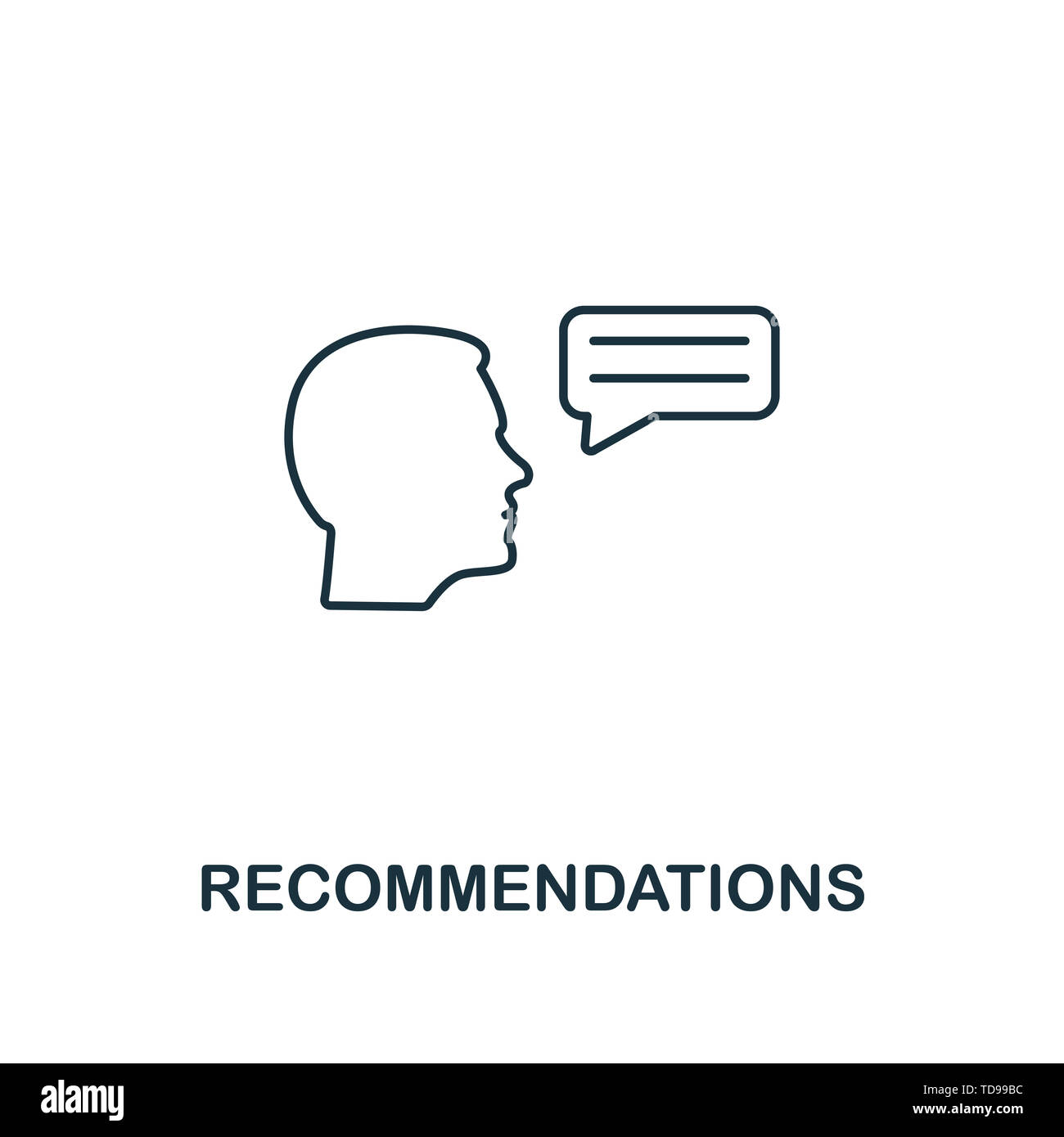 Recommendations icon. Thin line design symbol from business ethics icons collection. Pixel perfect recommendations icon for web design, apps, software - Stock Image