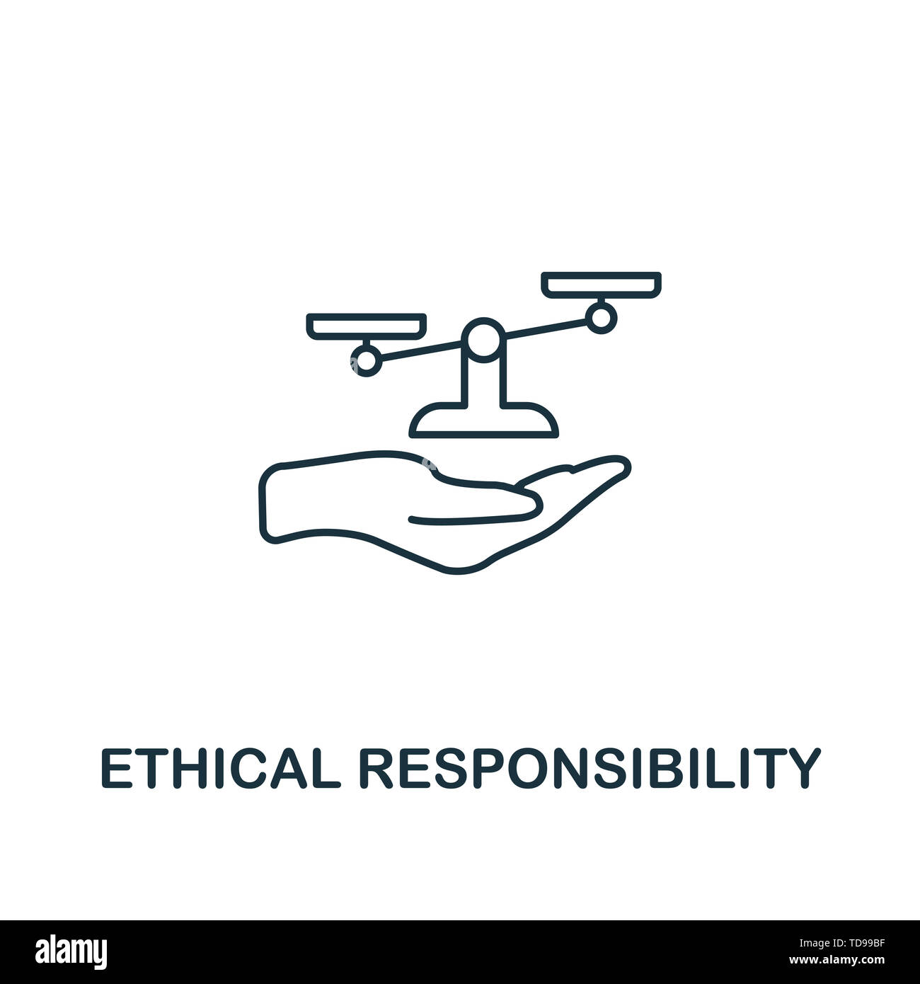 Ethical Responsibility icon. Thin line design symbol from business ethics icons collection. Pixel perfect ethical responsibility icon for web design,  - Stock Image