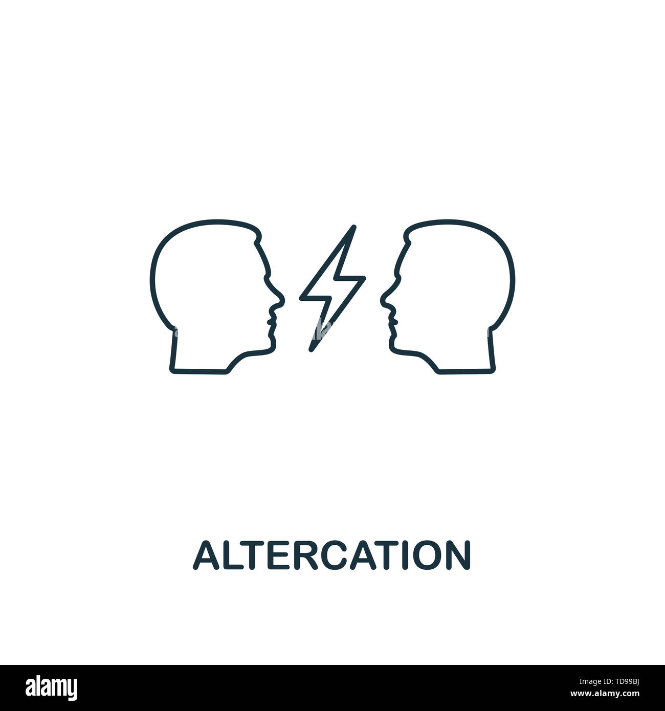 Altercation icon. Thin line design symbol from business ethics icons collection. Pixel perfect altercation icon for web design, apps, software, print  - Stock Image