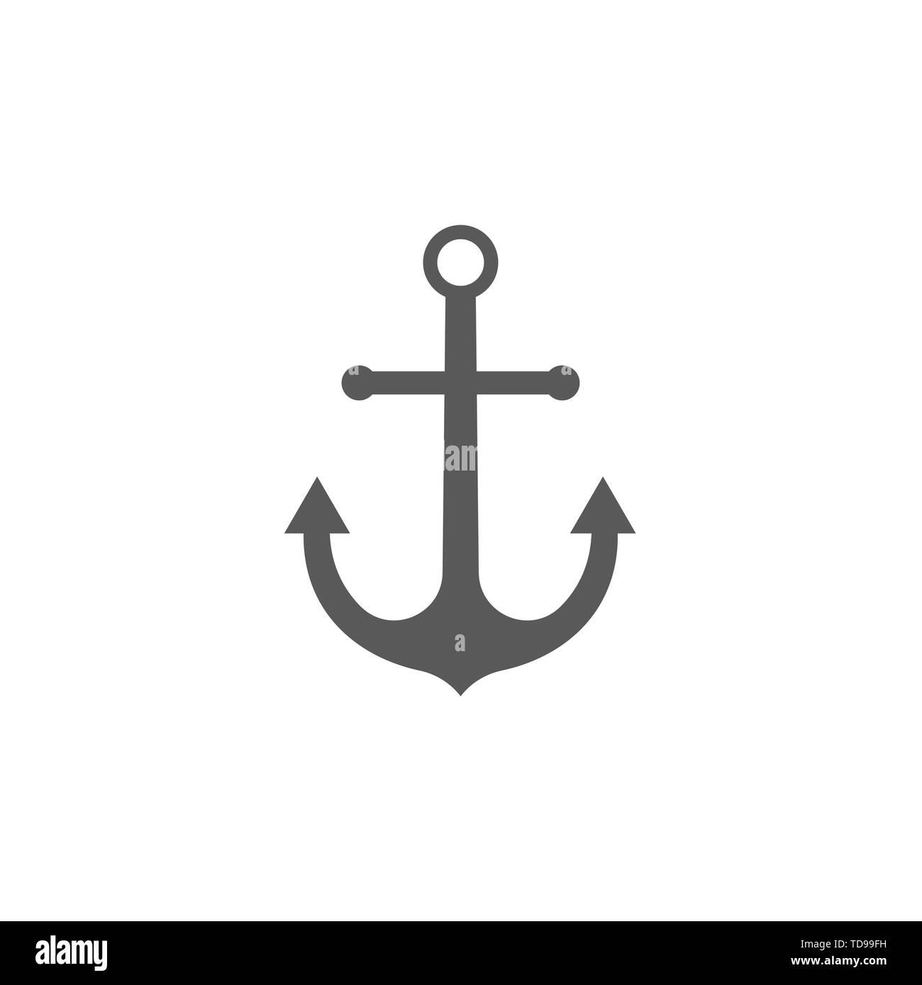 Anchor icon sign isolated on white background - Stock Image