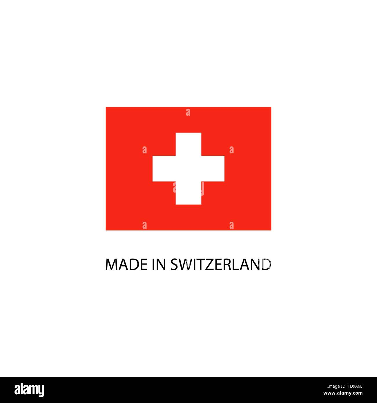 Made in Switzerland sign with national flag - Stock Image