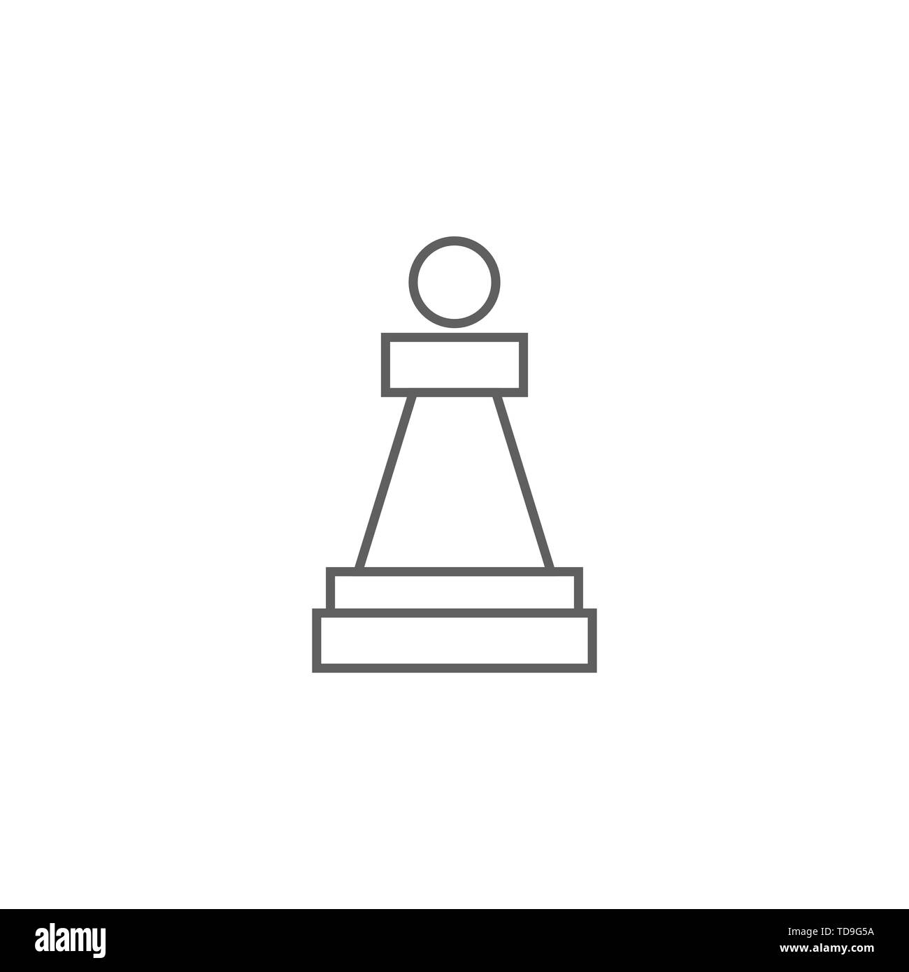 Chess Piece Pawn Related Vector Thin Line Icon. Isolated on White Background. Editable Stroke. Vector Illustration. - Stock Image