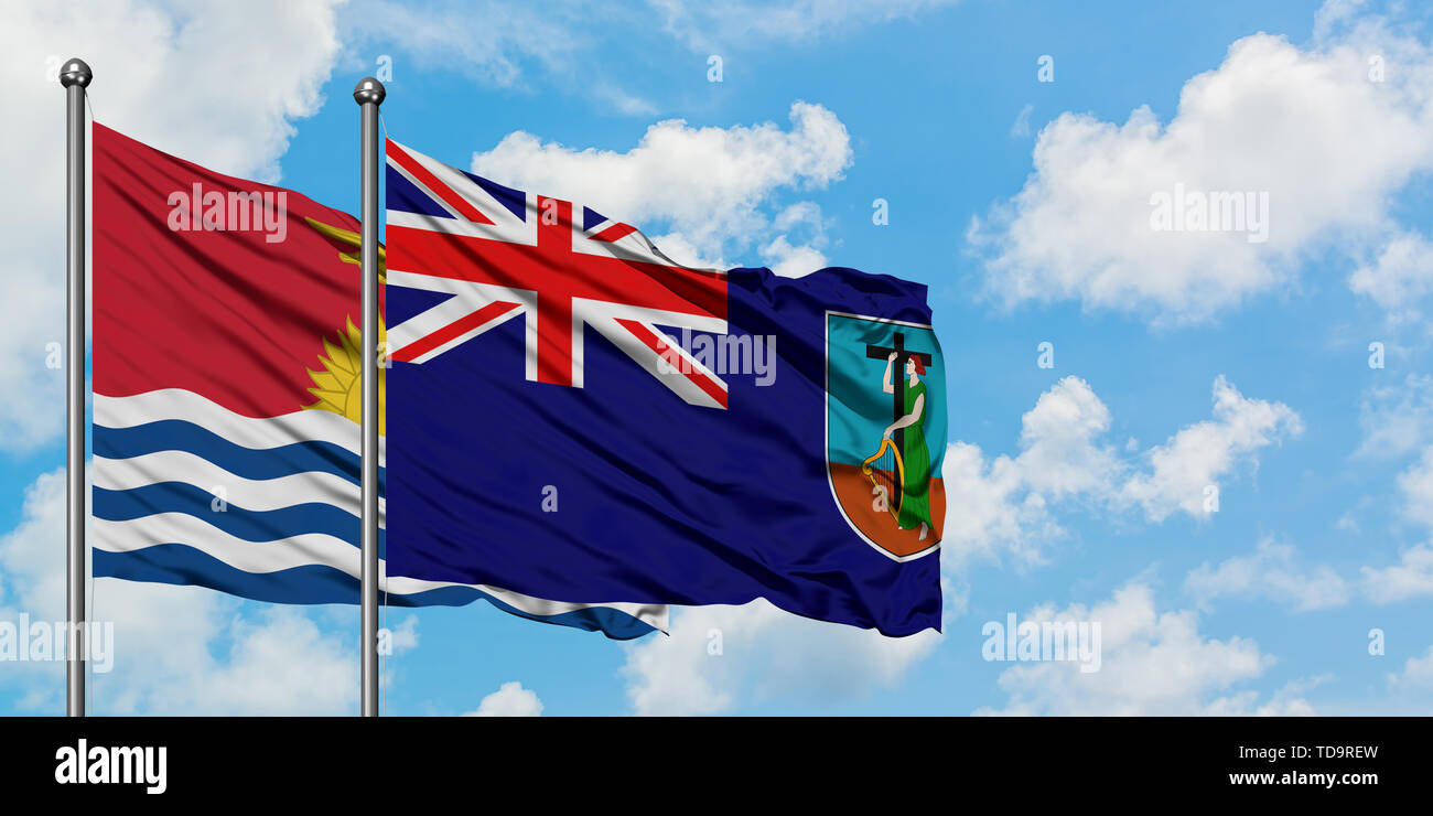 Kiribati and Montserrat flag waving in the wind against white cloudy blue sky together. Diplomacy concept, international relations. - Stock Image