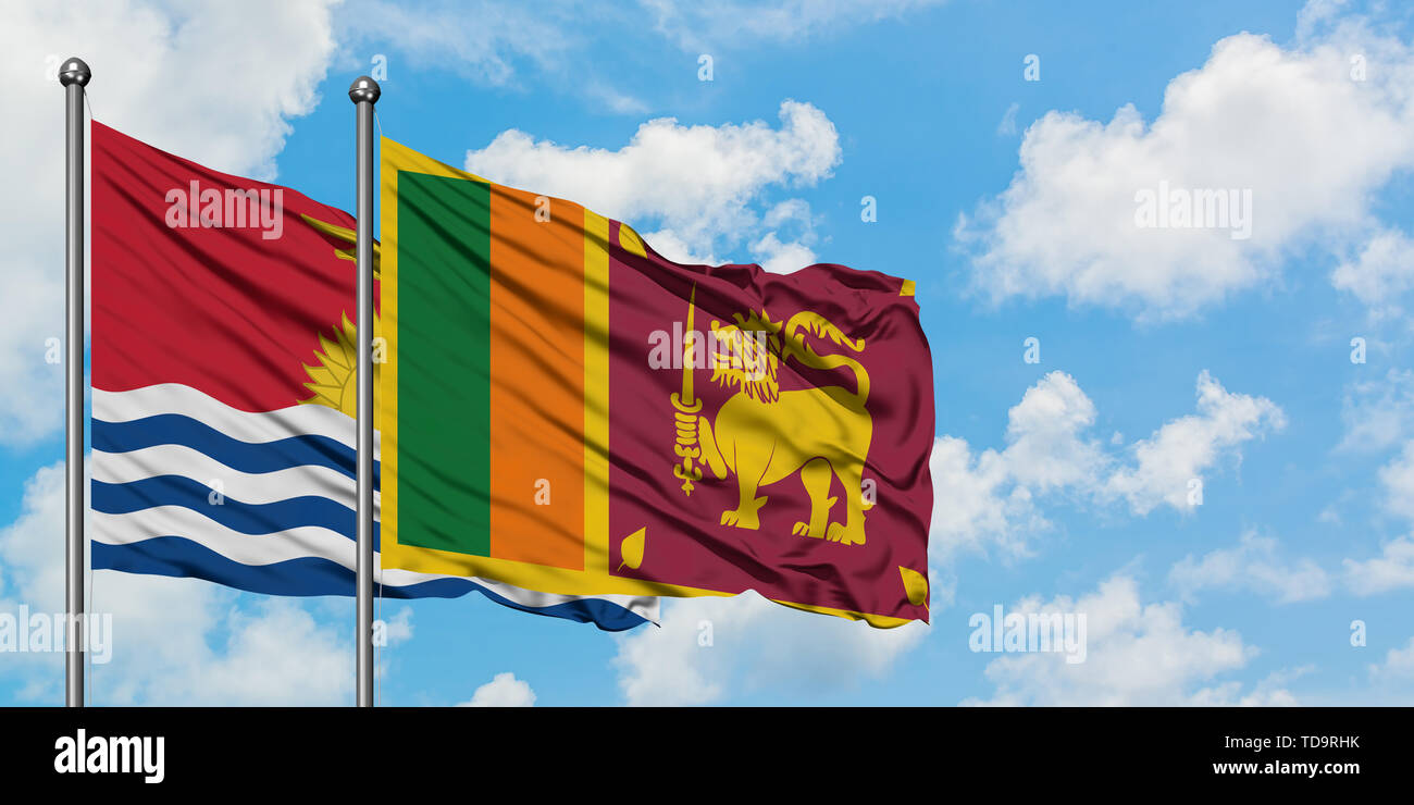 Kiribati and Sri Lanka flag waving in the wind against white cloudy blue sky together. Diplomacy concept, international relations. - Stock Image