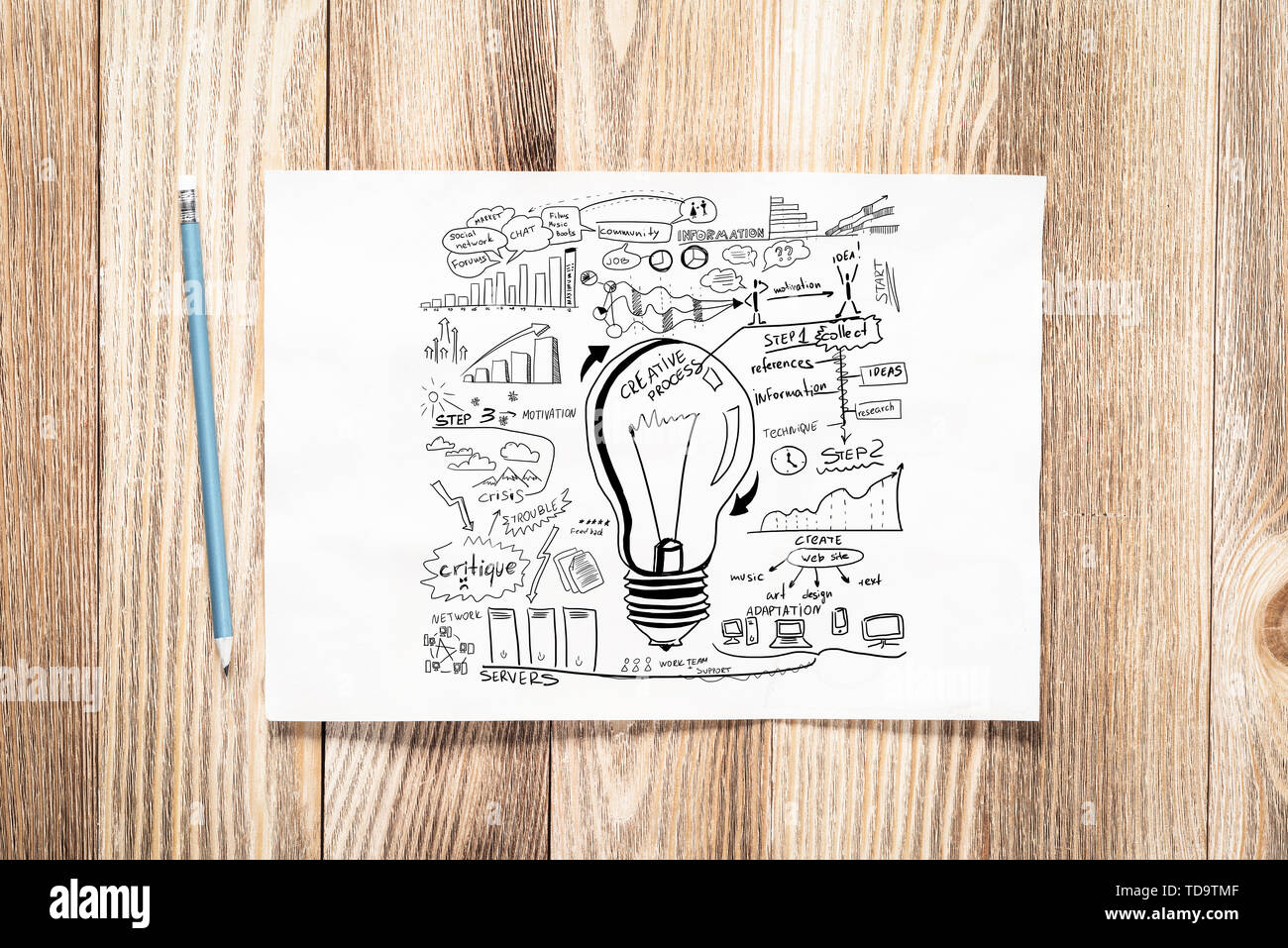 Business infographics pencil hand drawn with group of commercial doodles. Top view of workplace with paper and pencil lying on wooden desk. Financial  - Stock Image