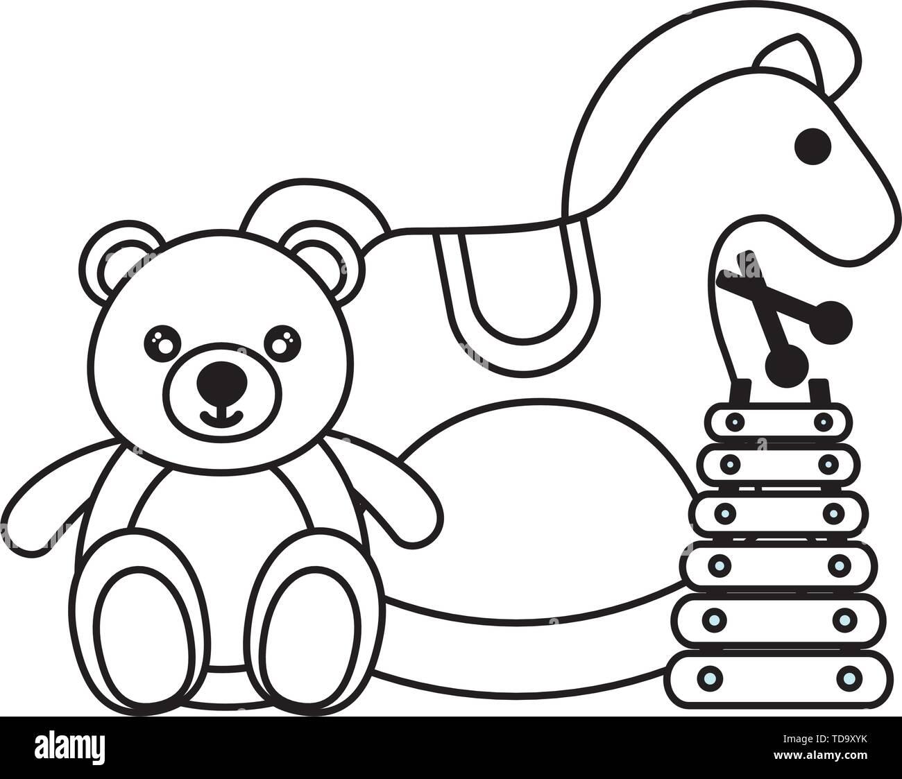 Rocking Horse Bear Xylophone Kids Toys Stock Vector Image Art Alamy