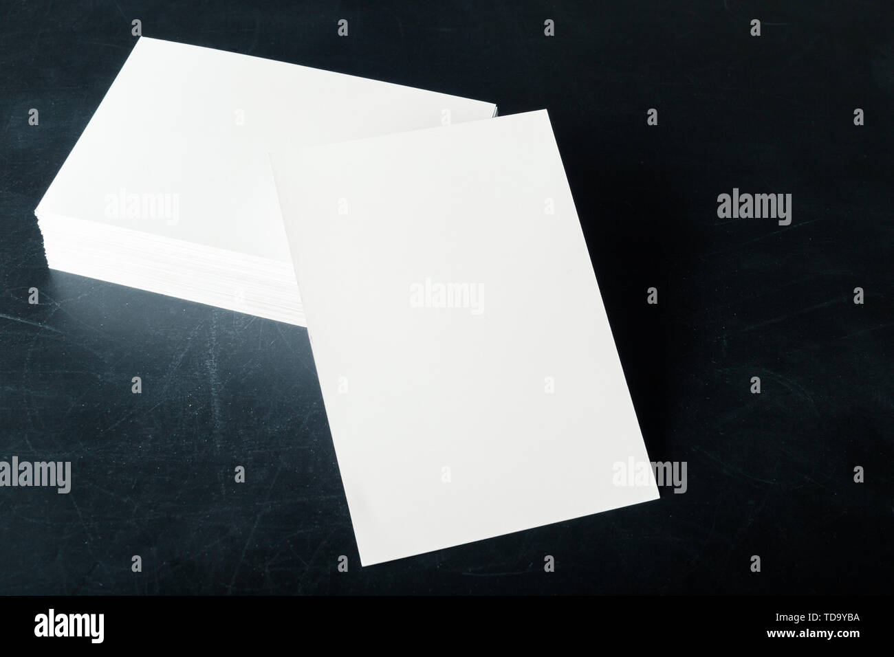 backed paper blank business cards on the stack - Stock Image