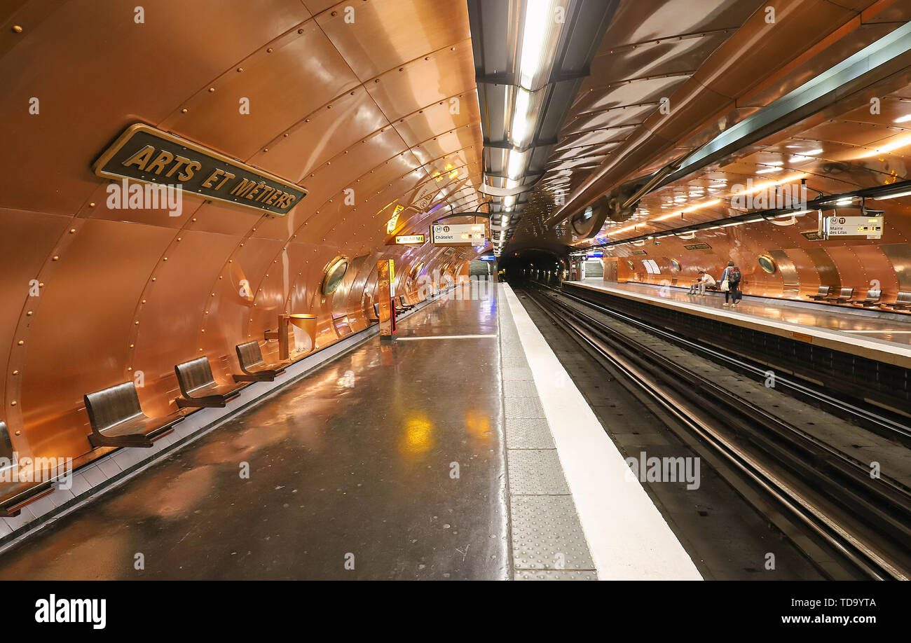 Inside the Metro station Arts et Metiers at line 11 in Paris. The station was redesigned by comic artist Francois Schuiten referring the work of Jules - Stock Image