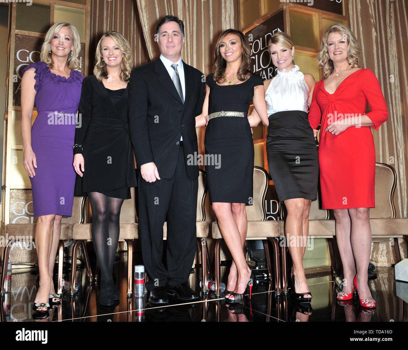 LOS ANGELES, CA. January 13, 2008: LtoR: TV presenters Lara Spencer, Brooke Anderson,  Jim Moret, Giuliana Rancic, Dayna Devon & Mary Hart at the Beverly Hilton Hotel for the announcement of the winners of the Golden Globe Awards. © 2008 Paul Smith / Featureflash - Stock Image