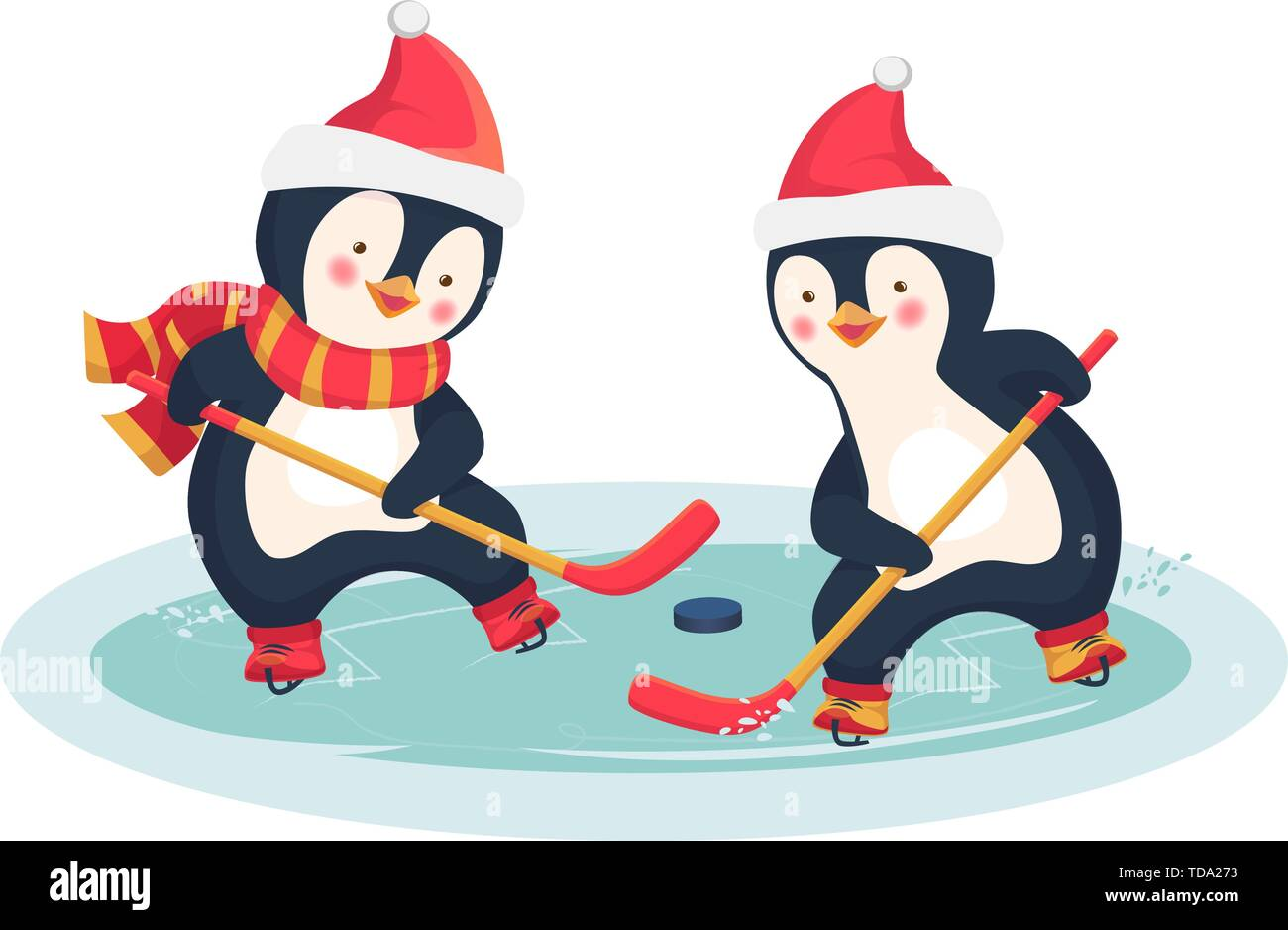 Childrens Sports Concept Christmas Penguin Play Ice Hockey In The Winter Kids Hockey Vector Illustration Stock Vector Image Art Alamy