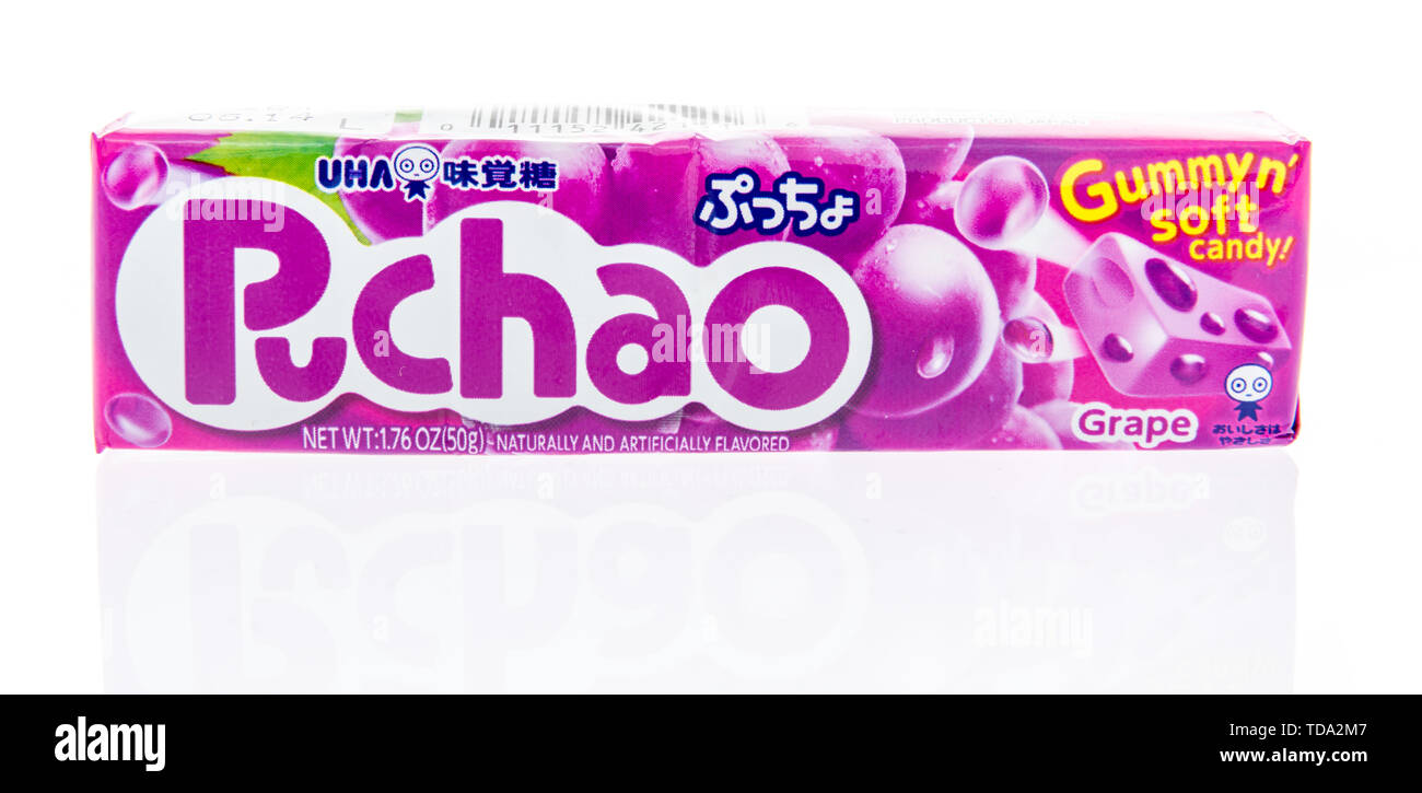 Winneconne, WI - 16 May 2019 : A package of UHA mikakuto puchao candy on an isolated background - Stock Image