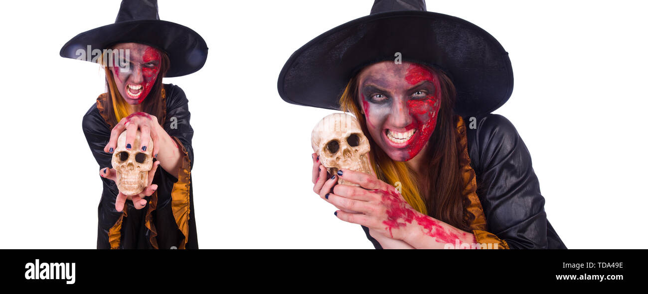 Witch isolated on the white background - Stock Image
