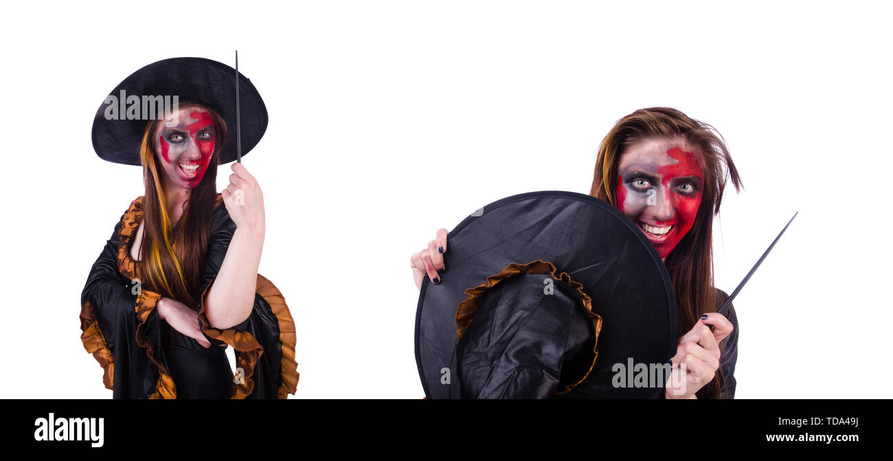Scary witch in halloween concept - Stock Image