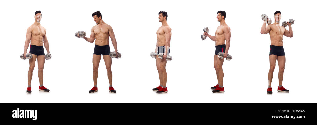 Muscular man isolated on the white background - Stock Image