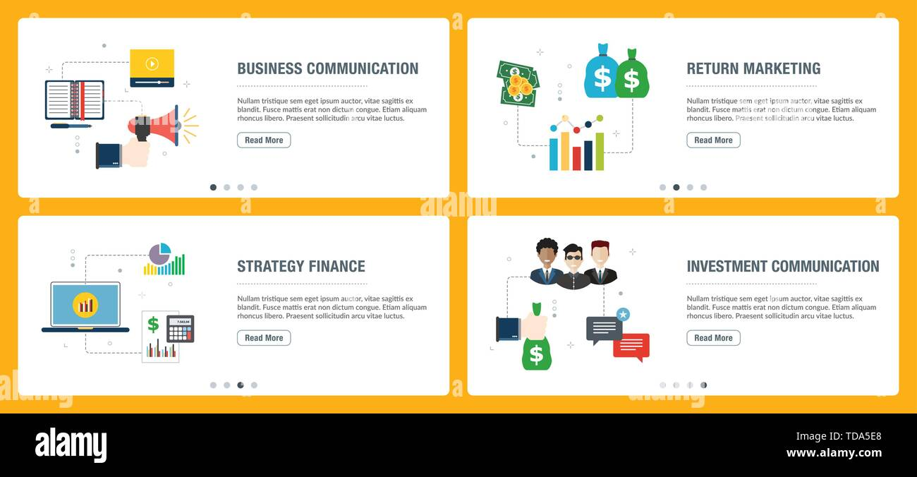 Banner set with icons for internet on websites or app templates with business communication, return marketing, strategy finance and investment communi - Stock Vector