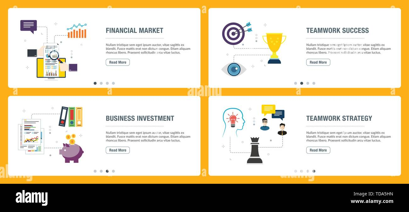 Web banners concept in vector with financial market