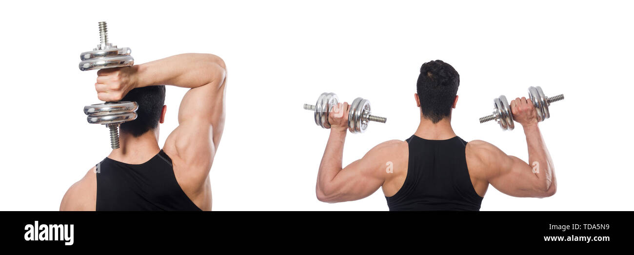 Man with dumbbells isolated on white - Stock Image