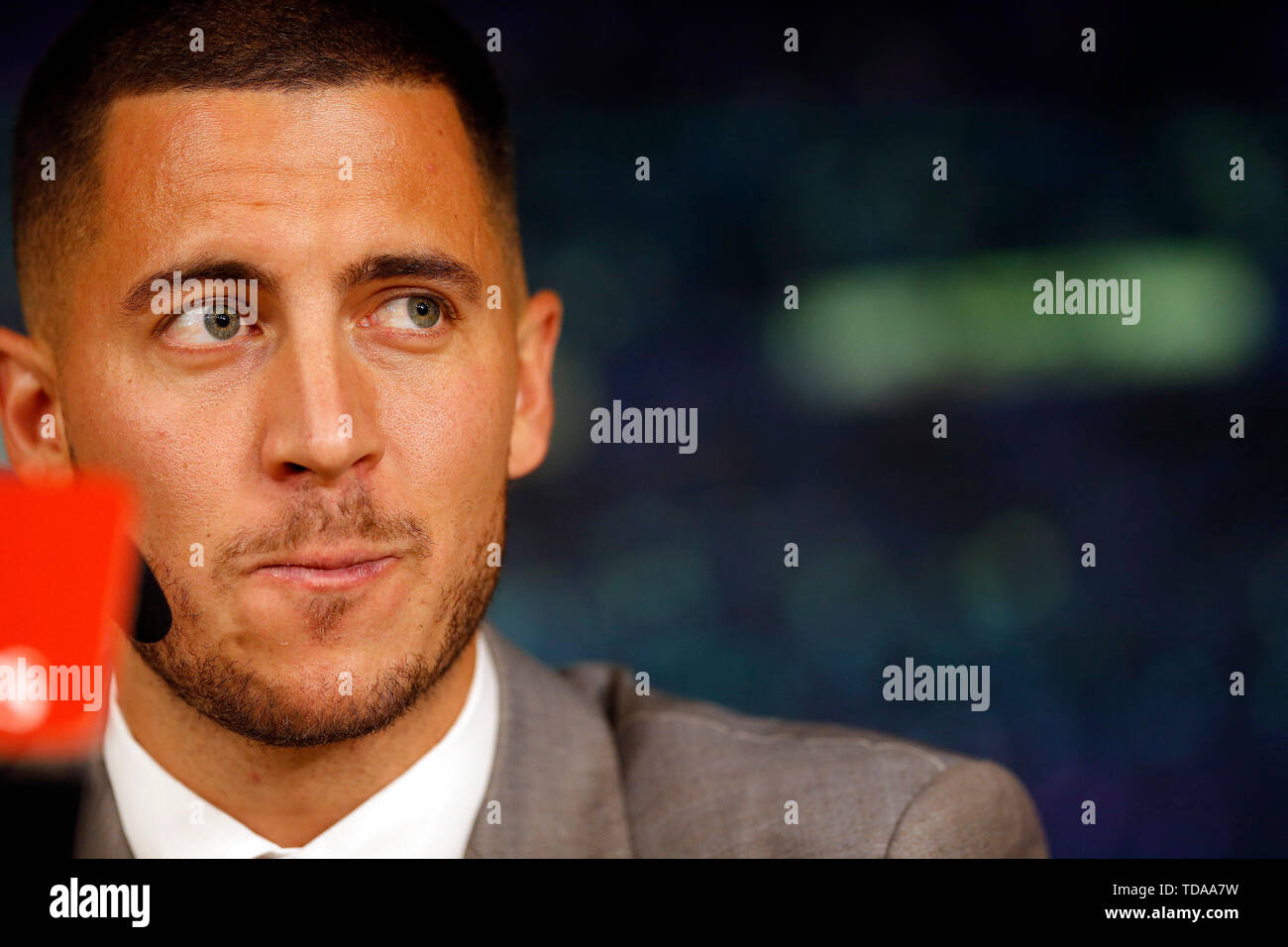 Madrid, Spain. 13th June, 2019. Eden Hazard seen during his presentation as a new player of Real Madrid CF at the Estadio Santiago Bernabeu in Madrid. Credit: SOPA Images Limited/Alamy Live News - Stock Image