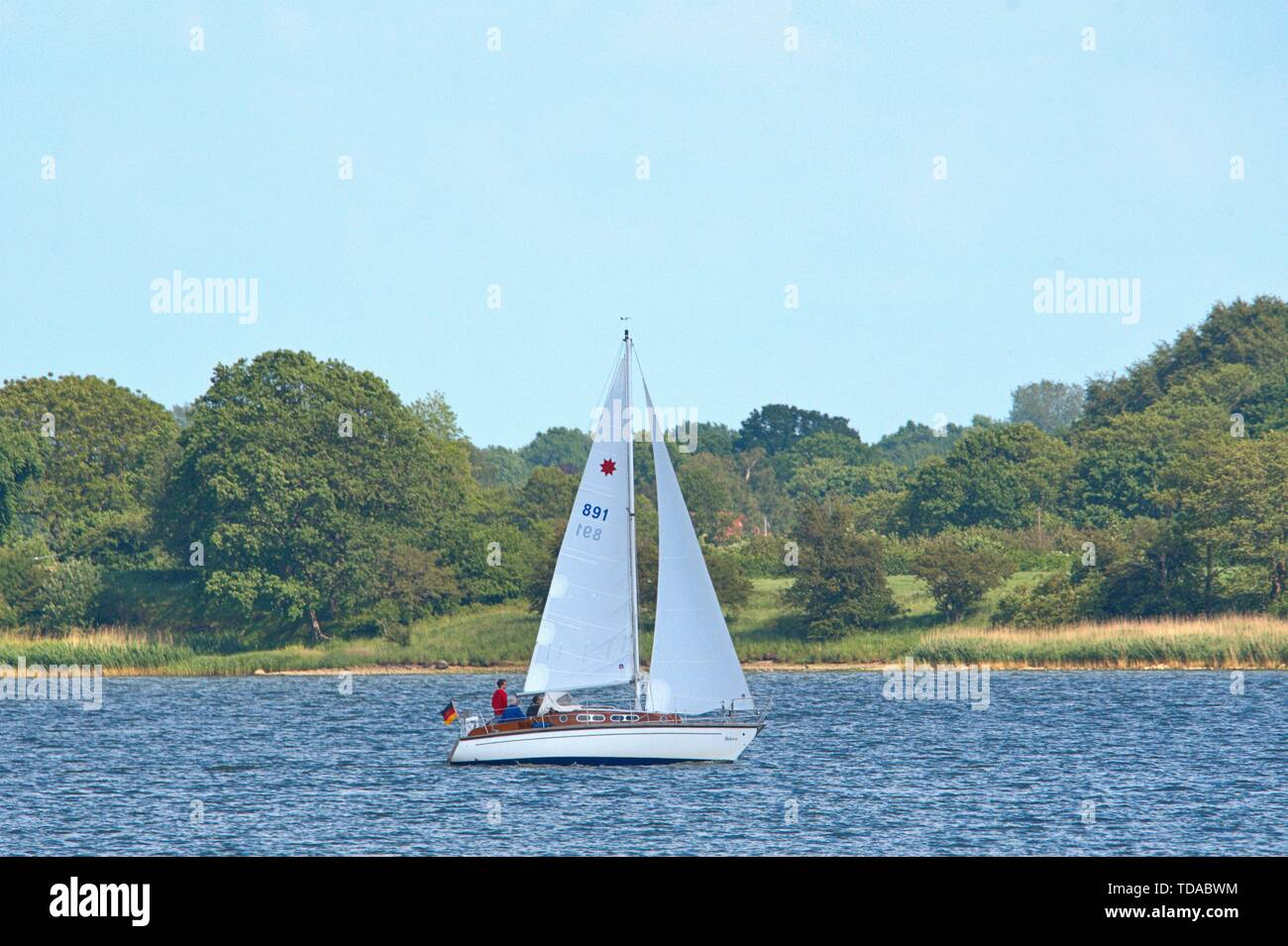 Schleswig, Deutschland. 09th June, 2019. 09.06.2019, the Schlei in Schleswig. The Ostseefjord, a Baltic Sea inlet filled with brackish water, is a popular sailing area. A sailing boat on the water, in the background are Stexwig and Fahrdorf.   usage worldwide Credit: dpa/Alamy Live News - Stock Image