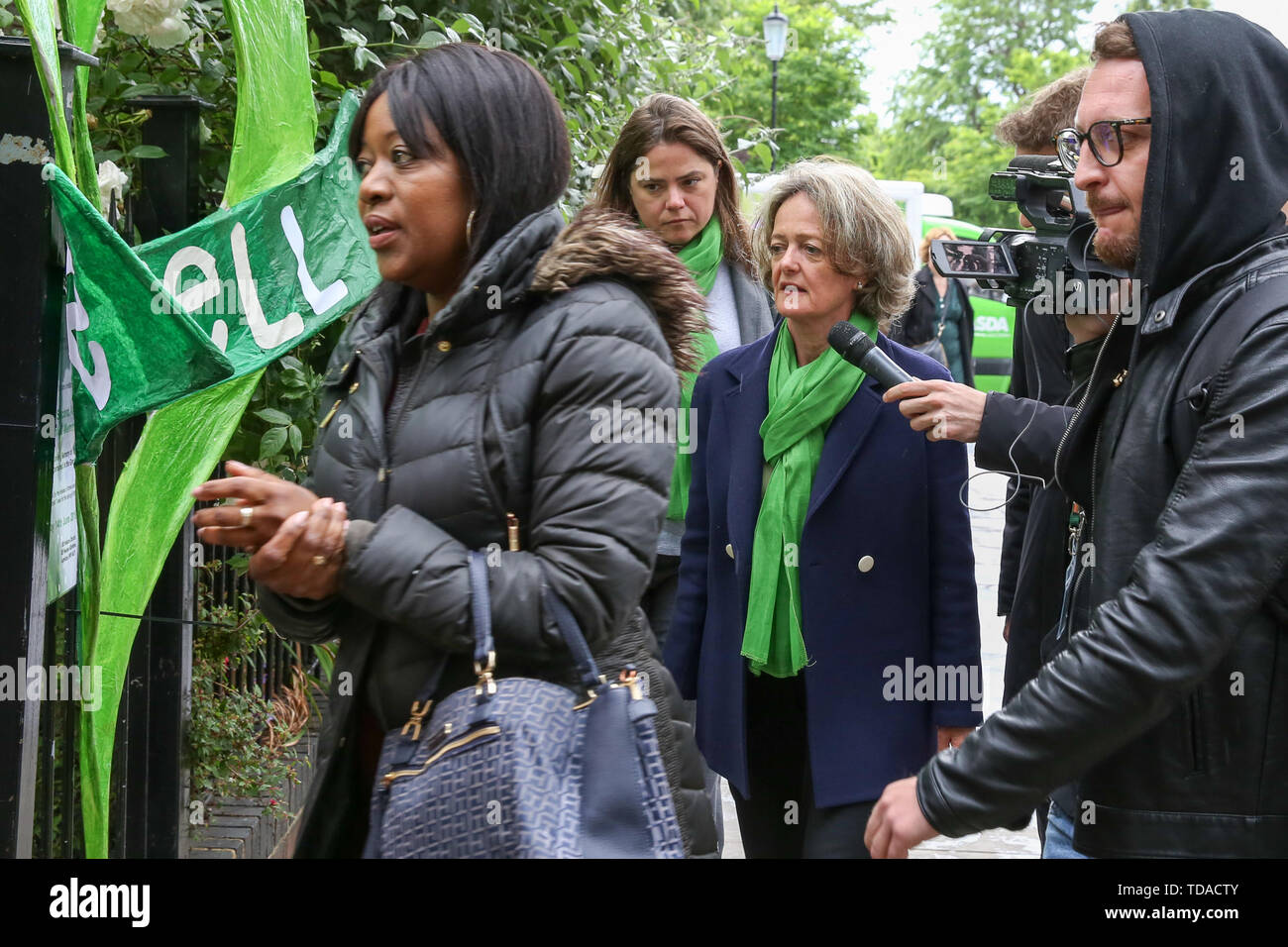 North Kensington, West London. UK 14 Jun 2019 - Media interviews The Kensington and Chelsea leader, Elizabeth Campbell as she arrives at St Helen's Church to commemorate the second anniversary of the Grenfell Tower fire service. On 14 June 2017, just before 1:00Êam a fire broke out in the kitchen of the fourth floor flat at the 24-storey residential tower block in North Kensington, West London, which took the lives of 72 people. More than 70 others were injured and 223 people escaped.  Credit: Dinendra Haria/Alamy Live News - Stock Image