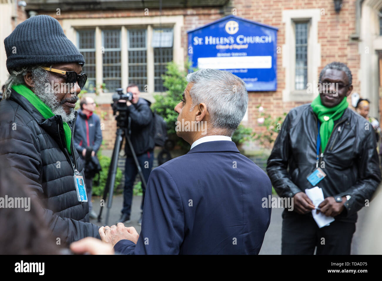 London, UK. 14 June, 2019. Mayor of London Sadiq Khan arrives to attend a memorial service at St Helen's Church to mark the second anniversary of the Grenfell Tower fire on 14th June 2017 in which at least 72 people died and over 70 were injured. Credit: Mark Kerrison/Alamy Live News - Stock Image