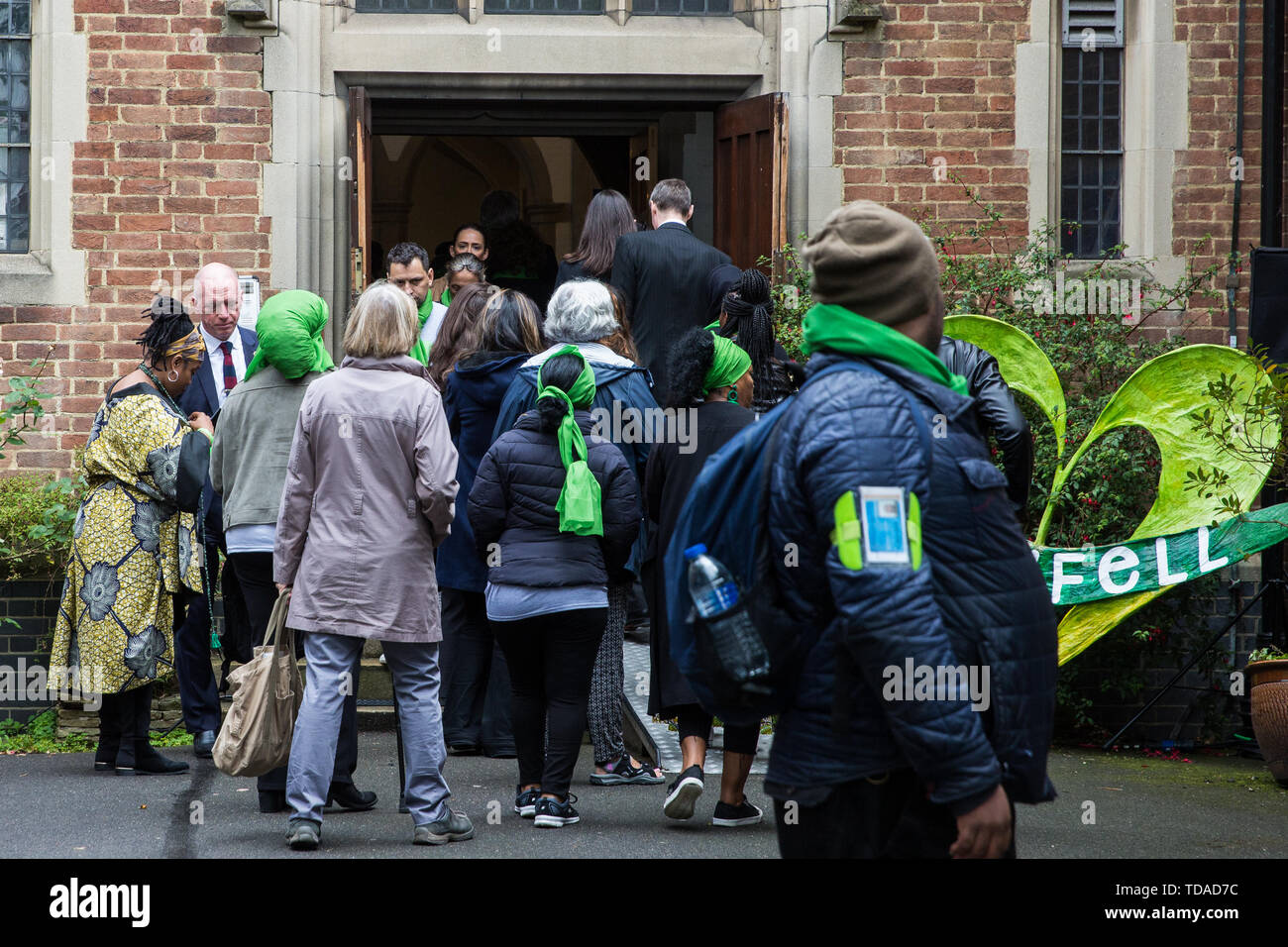 London, UK. 14 June, 2019. Matt Wrack, General Secretary of the Fire Brigades Union, arrives to attend a memorial service at St Helen's Church to mark the second anniversary of the Grenfell Tower fire on 14th June 2017 in which at least 72 people died and over 70 were injured. Credit: Mark Kerrison/Alamy Live News - Stock Image
