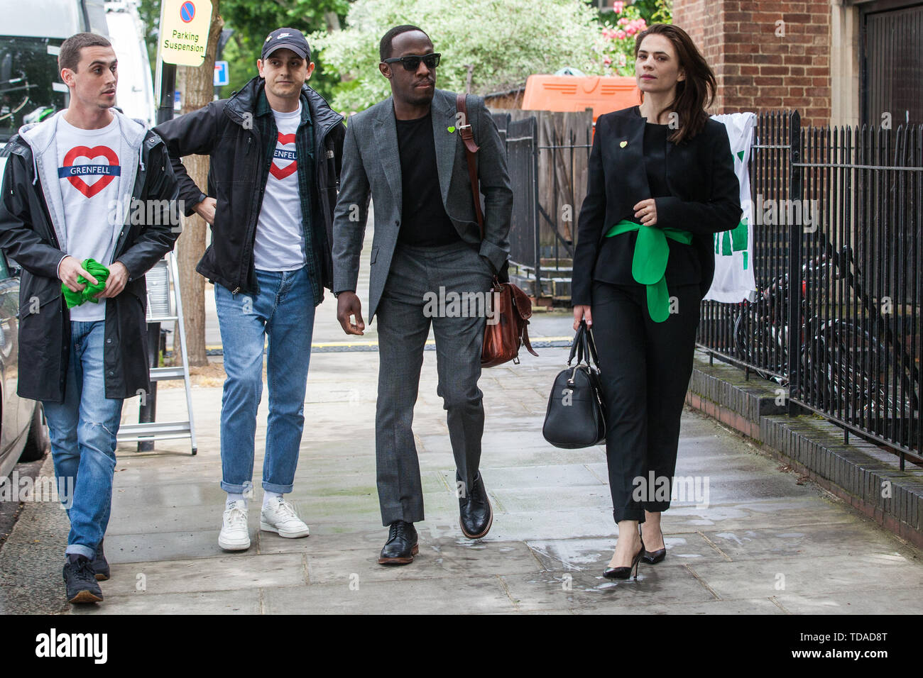 London, UK. 14 June, 2019. Guests arrive to attend a memorial service at St Helen's Church to mark the second anniversary of the Grenfell Tower fire on 14th June 2017 in which at least 72 people died and over 70 were injured. Credit: Mark Kerrison/Alamy Live News - Stock Image