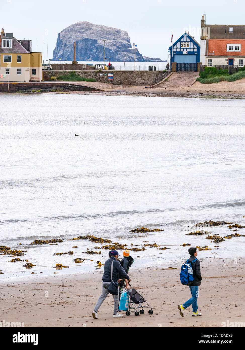 North Berwick, East Lothian, Scotland, United Kingdom. 14th June, 2019. UK Weather: After East Lothian suffered heavy rain the last few days, the weather has brightened, and people enjoy the outdoor pursuits in the seaside town. A family walking on West Bay beach. Credit: Sally Anderson/Alamy Live News Credit: Sally Anderson/Alamy Live News - Stock Image