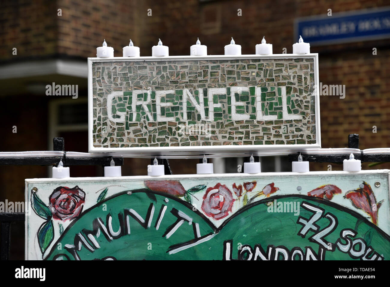 Grenfell Tower, London, UK. 14th June, 2019. The Grenfell Tower fire anniversary commemorations. Credit: Matthew Chattle/Alamy Live News - Stock Image