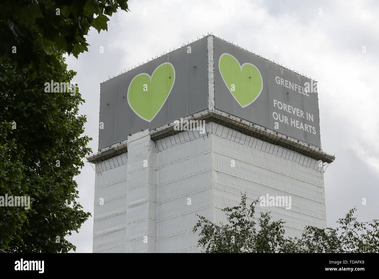 North Kensington, West London. UK 14 Jun 2019 - The view of Grenfell Tower. On 14 June 2017, just before 1:00Êam a fire broke out in the kitchen of the fourth floor flat at the 24-storey residential tower block in North Kensington, West London, which took the lives of 72 people. More than 70 others were injured and 223 people escaped.  Credit: Dinendra Haria/Alamy Live News - Stock Image