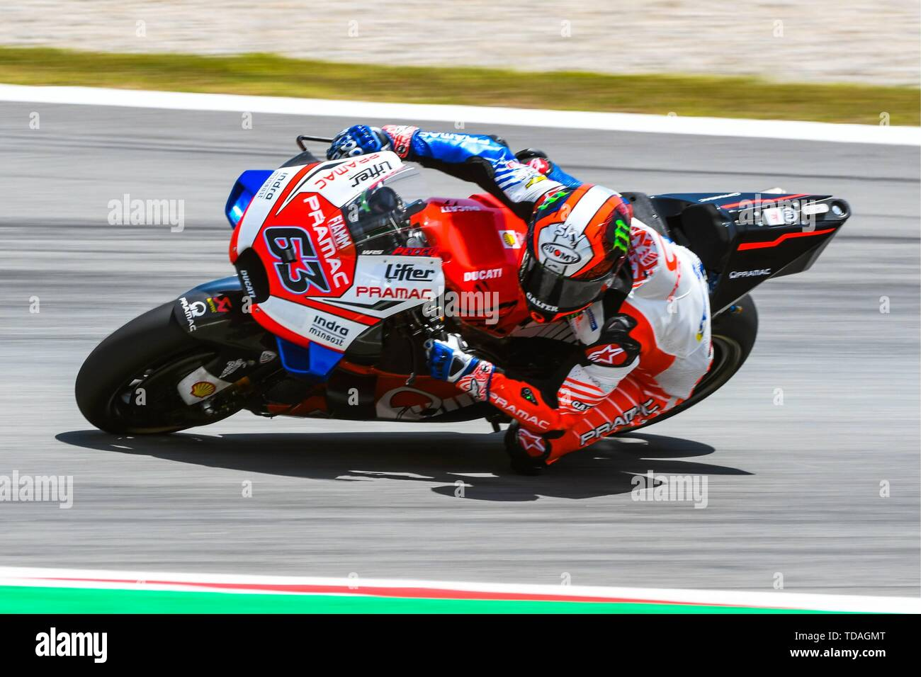 FRANCESCO BAGNAIA (63) of Italy and Pramac Racing during the MOTO GP Free  Practice 2 of the Ctalunya Grand Prix at Circuit de Barcelona racetrack in  Montmelo, Spain on June 14, 2019 (
