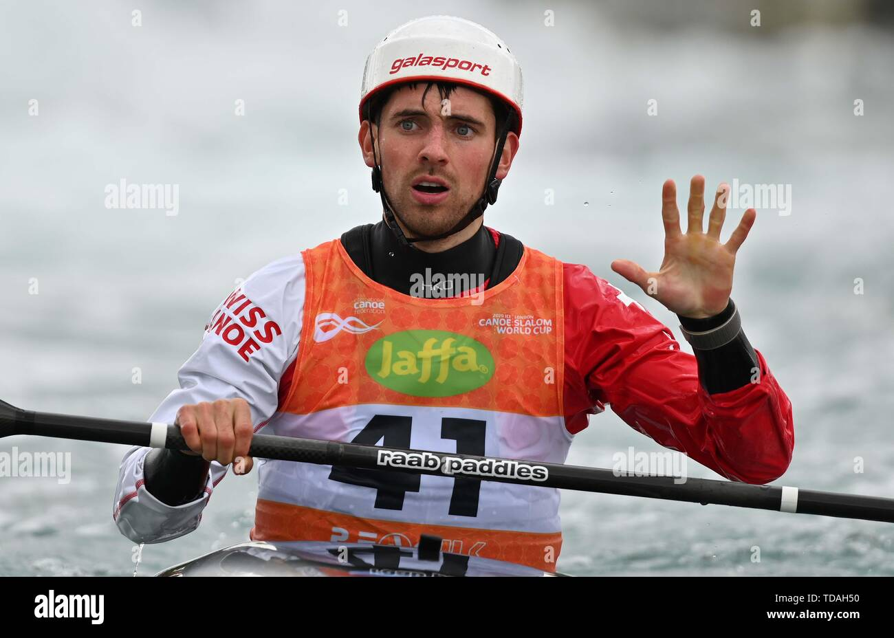 Lee Valley, Hertforshire, UK. 14th June, 2018.  Manual Munsch (SUI) celebrates at the end of his run. 2019 ICF London canoe slalom world cup. Lee valley white water centre. Mens K1 Kayak. Hertfordshire. UK. 14/06/2019. Credit: Sport In Pictures/Alamy Live News Stock Photo