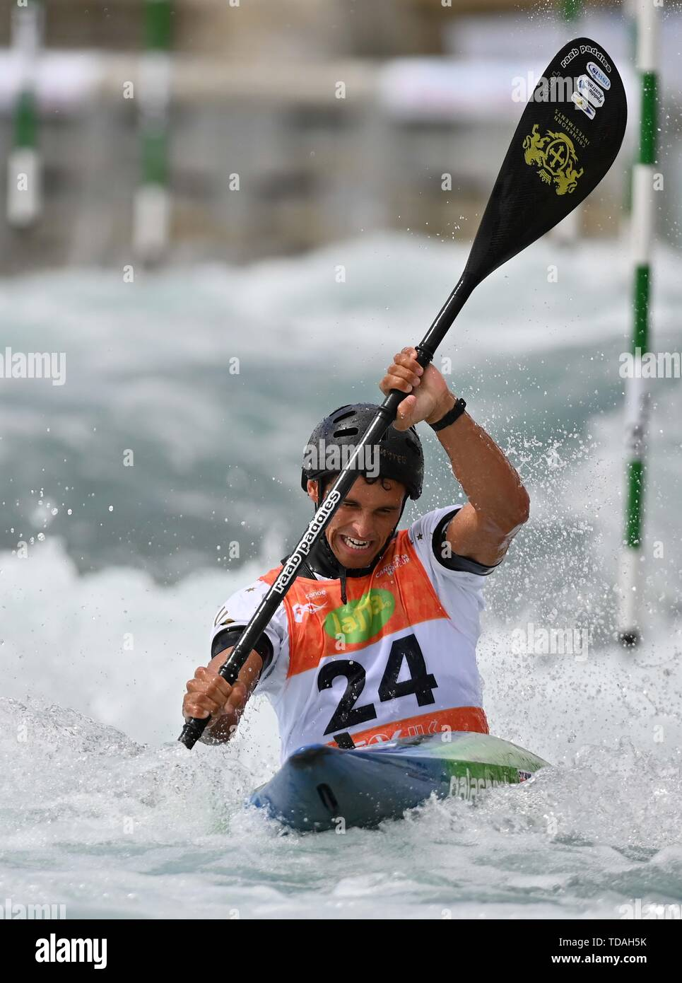 Lee Valley, Hertforshire, UK. 14th June, 2018.  Timothy Anderson (AUS). 2019 ICF London canoe slalom world cup. Lee valley white water centre. Mens K1 Kayak. Hertfordshire. UK. 14/06/2019. Credit: Sport In Pictures/Alamy Live News - Stock Image