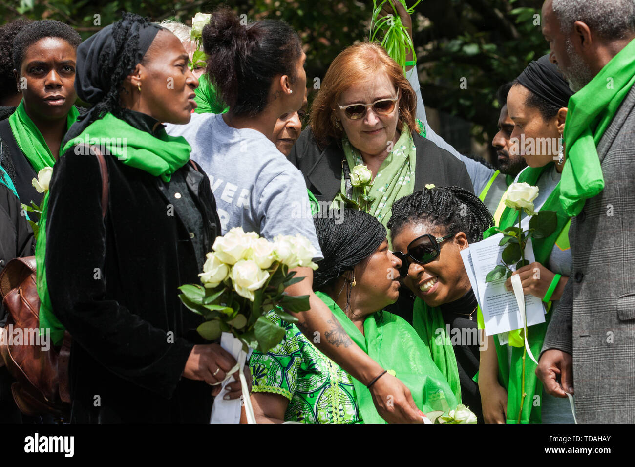 London, UK. 14 June, 2019. Emma Dent Coad, Labour MP for Kensington, joins family members to release doves of peace following a memorial service at St Helen's Church to mark the second anniversary of the Grenfell Tower fire on 14th June 2017 in which at least 72 people died and over 70 were injured. Credit: Mark Kerrison/Alamy Live News - Stock Image