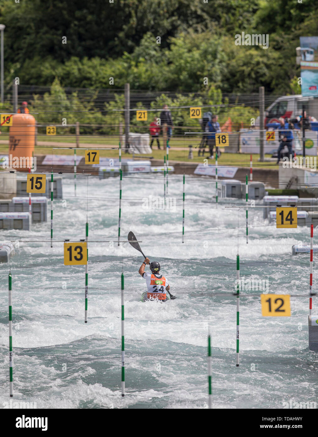 Lee Valley Whitewater Centre, UK. 14th June, 2019.  ICF Canoe Slalom World Cup Series; Timothy Anderson (AUS) competing in the Men K1 Heats Run 1 Credit: Action Plus Sports Images/Alamy Live News - Stock Image