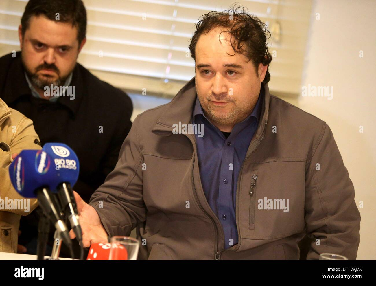 Santiago, Chile. 14th June, 2019. Plaintiff Mauricio Pulgar, former seminarian of the Valaparaiso diocese, delivers a press conference, in Santiago, Chile, 14 June 2019, to explain the details of the lawsuit against all the authors, accomplices and accessories of the abuses committed inside the institution. Credit: Alberto Pena/EFE/Alamy Live News - Stock Image