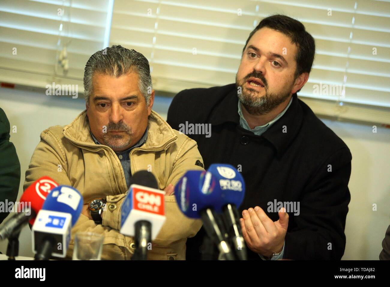 Santiago, Chile. 14th June, 2019. Plaintiff Marcelo Soto, former seminarian of the Valaparaiso diocese, delivers a press conference, in Santiago, Chile, 14 June 2019, to explain the details of the lawsuit against all the authors, accomplices and accessories of the abuses committed inside the institution. Credit: Alberto Pena/EFE/Alamy Live News - Stock Image