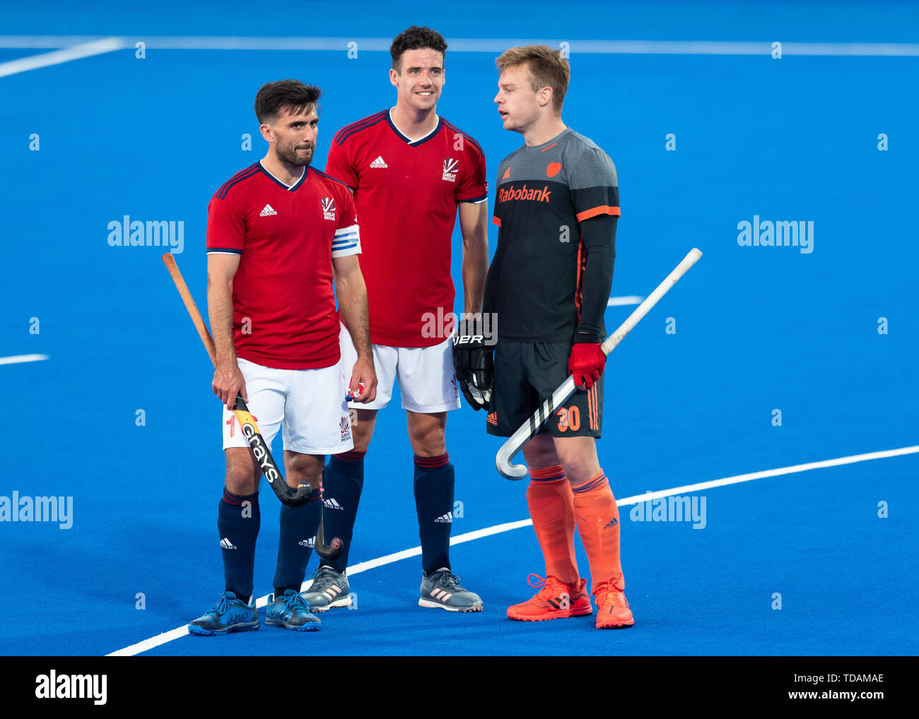 LONDON, UNITED KINGDOM. 14th Jun, 2019.   during FIH Pro League match: Great Britain vs Netherlands at Lea Valley Hockey and Tennis Centre on Friday, June 14, 2019 in LONDON ENGLAND. Credit: Taka G Wu/Alamy Live News Stock Photo